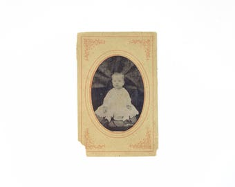 Vintage Tintype Photo of Baby / Child Tintype / Victorian Era Tintype Photograph