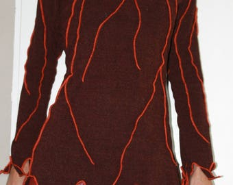 Brown tunic in fall colors like foliage with rust veins Orange