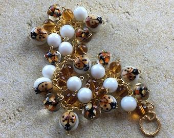 Lady Bug Glass Lampwork Bracelet, Lampwork Bracelet, Beaded Bracelet, Beadwork Bracelet, Gift For Her