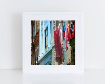 "Hanging laundry print - Havana Cuba wall art - Square print - ""Colores cubanos"" - Havana photography - Cuba photography - Laundry room art"