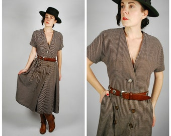 1950's Striped Dress - 50's Brown Cotton Day Dress - Size M