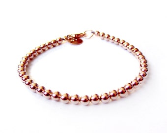 Bracelet - 4mm 14K Rose Gold Filled Bead Bracelet - Everyday Wear - 14K Rose Gold Ball Bracelet