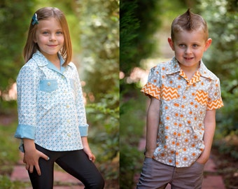 Shirt sewing pattern for boys & girls WILLOW SHIRT pdf sewing pattern, kids shirt pattern sizes 4 to 14 years digital pattern