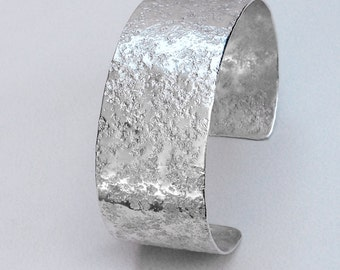 "Sterling Silver Cuff Bracelet Stone Textured 1"" Wide Medium Size"