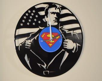 Superman Vinyl Record Clock