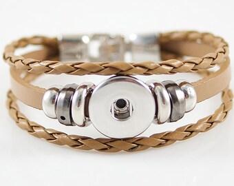 Upgraded Tan Boho Multilayered Bracelet with 6 Decorative Round Charms