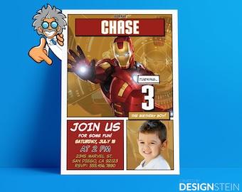 Iron Man Birthday Invitation - Comic Book