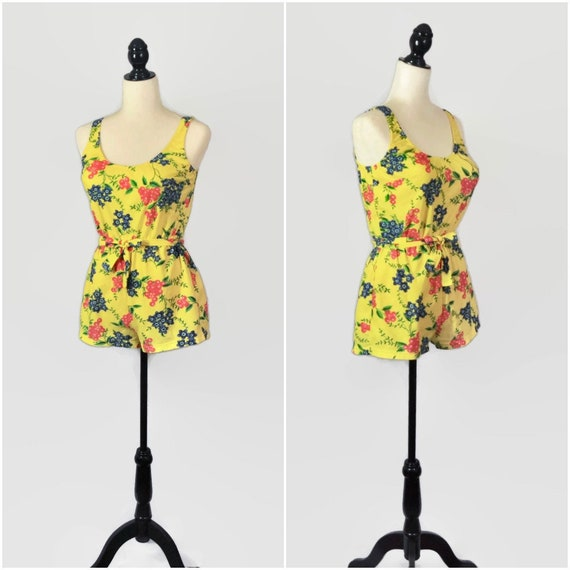 734fc78c81a2 Vintage 60s Playsuit Yellow Floral Swimsuit Romper Medium