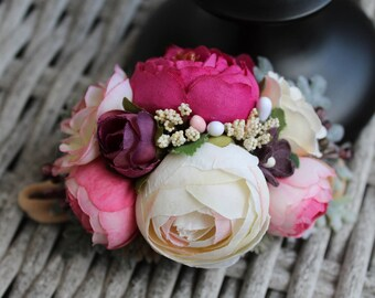 Medium Flower Crown in Fuchsia, Ivory & Plum | Floral headband | Ready to Ship |