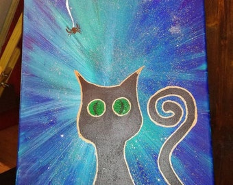 ACRYLIC CANVA HYPNOTIC cat and spider web painting