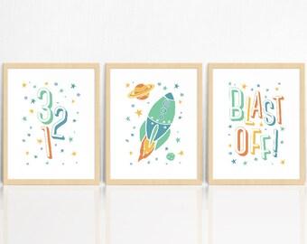 Rocket Ship SET OF 3 Wall Prints | Nursery Decor | Children's Room Print