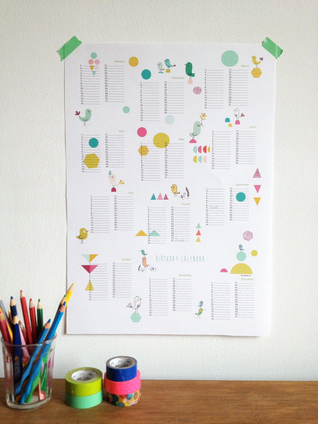 Calendar Poster Size : Perpetual calendar birthday poster size a instant