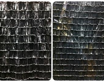 "1"" Black Ruffles w/ Metallic Foil Semi-Sheer Stretch Polyester Spandex Fabric - 50 Inches Wide - By the Yard or Bulk"