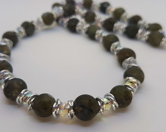 Faceted Labradorite and Swarovski Crystal necklace