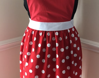 Minnie Mouse inspired adult apron in red or pink polka dot styles