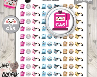 Gas Stickers, Gas Pump Stickers, Gas Icons, Printable Planner Stickers, Stickers, Planner Accessories, Cute Stickers