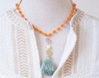 Necklace with Tassel  Tassel Necklace  Tassel necklace with beads  Tassel necklace gold  Tassel necklace silver  Tassel pendant necklace
