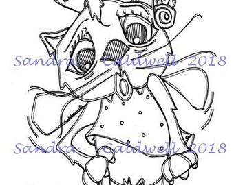 2220 Mama Fairy Cat Digi Stamp