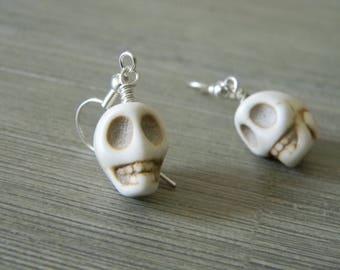 Stone Skull Earrings White Color Dangle Earrings