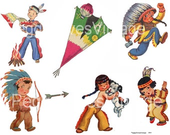 Little Warriors 1 Digital Collage from Vintage Greeting Cards - Instant Download -  Cut Outs
