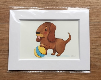 Original Painting - Dachshund, Sausage Dog, Puppy Picture,