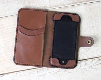 Handmade iPhone SE Leather Wallet Case, hand stitched, iphone se case, leather iphone se wallet, durable iphone case, custom iphone se case