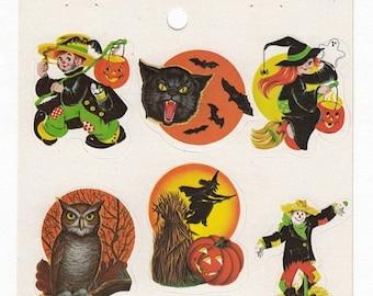 SALE Halloween Vintage Eureka Sticker Sheet - 80's Bat Owl Pumpkin Jack O Lantern Witch Black Cat Scarecrow Crow Moon Retro Creepy