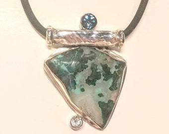 Blue green chrysocolla and tourmaline pendant. Sterling silver with tourmaline necklace. Handmade art jewelry, one of a kind.