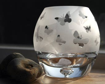 Hand Etched Globe Tealight - Butterfly