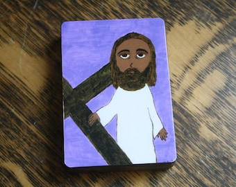 """2.5"""" X 3.5"""" Jesus Accepts his Cross Byzantine Folk style icon on wood by DL Sayles"""