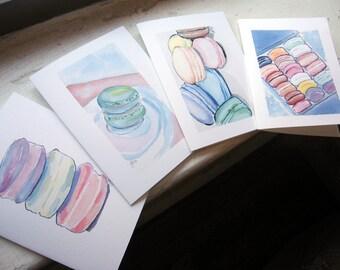 Macarons Cards, Watercolor Art Notecards, Set of 12