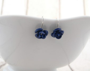 Blue flower earrings, Blue earrings, Dark blue earrings, Flower earrings, Anodised earrings, Long earrings, Floral earrings, Garden earrings