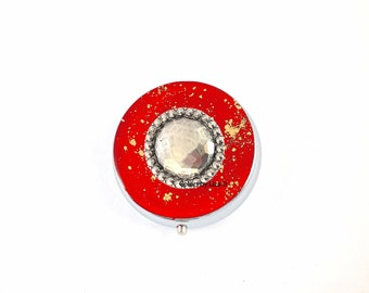 Bejeweled Round Metal Pill Box Inlid in Hand Painted Enamel Red with Gold Splash Design Personalized and Color Options Available