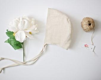 Linen Bonnet, Baby Bonnet, Natural Linen Bonnet, Photography Prop, Baby Hat, Linen Hat, Newborn Hat, Cream Baby Bonnet