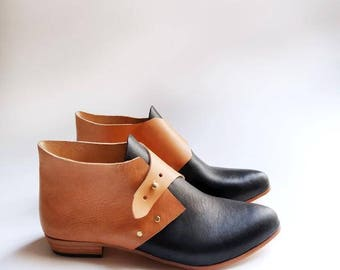 The Mussenden. Black and Undyed. 2cm. Handmade Ankle Boots. Soft Shoes.