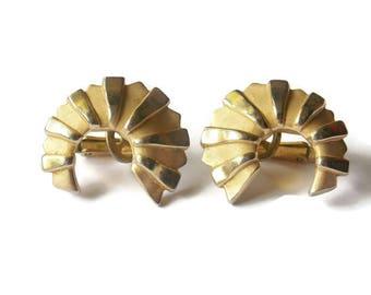 Vintage Gold Tone Crescent shaped Trifari Clip on Earrings