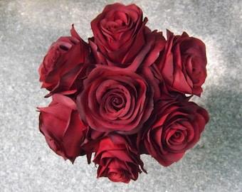 Simple and elegant black magic open rose toss bouquet