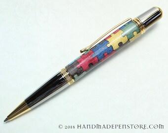 AUTISM AWARENESS Puzzle pen (#9) - wood inlayed in Black Titanium/Titanium Gold Sierra style pen