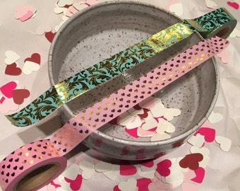 PINK metallic gold foil heart washi tape FULL ROLLS