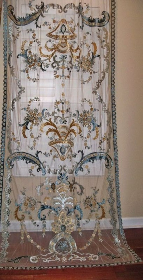 Italian Embroidered Velvet Fabric Sheer Drapes Panel Sapphire