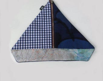 Nautical Zipper Pouch , Sailboat Coin Purse , Sailing Boat Zipper Pouch , Sailboat Purse , Blue Sailboat Pouch , Patchwork Sailboat