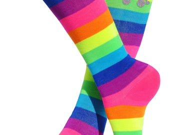 Skate Party Roller Derby Socks Rainbow Knee Socks Neon Trendy Socks Boot Socks Fun Party Birthday Gift Socks Glow Party Socks Funky Socks