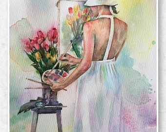 Fine Art Print from Original Watercolor, Female Artist, Romantic Watercolor Print