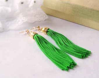 Tassel Earrings in Kelly Green with Gold Plated Bead Caps and Stud Posts