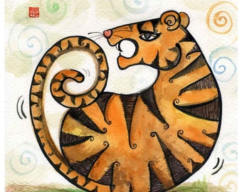 year of the tiger, Chinese zodiac print, personalized gift, whimsical wall art, orange print, grandfather gift, A4 frame, beilexian