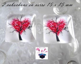 2 glass cabochon square 15 x 15 mm for loop or theme tree of life pendant