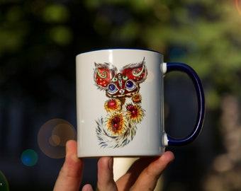 Animal Mug Watercolor Ceramic Mug Unique Gift original art Coffee Mug Animal Mug Tea Cup Art Illustration Art Printed mug Animal Gift