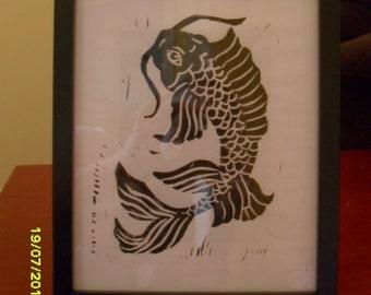 Whiskers - Fish Lino Print - Home Decor - Wall Art - Gift