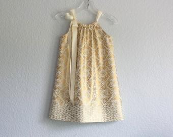 Girls Metallic Gold & Cream Damask Dress - Metallic Gold Pillowcase Dress - Girls Gold Party Dress - Size 12m, 18m, 2T, 3T, 4T, 5, 6,8 or 10