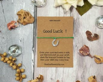 Good Luck Wish Bracelet, Good Luck Charm, Four Leaf Clover, Horseshoe Charm, Good Luck Bracelet, Good Luck Charm Bracelet, Good Luck Gift